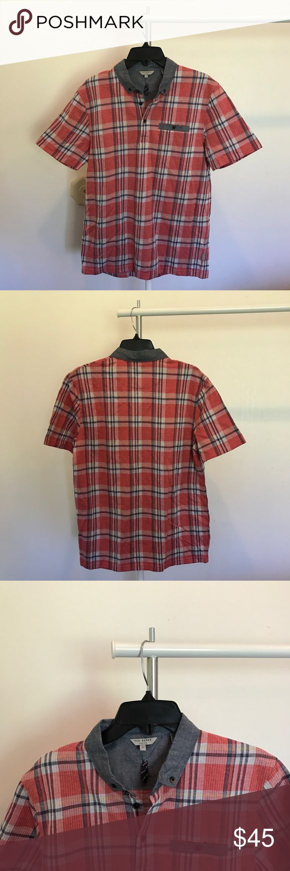 Ted Baker Short Sleeve Plaid Shirt New without tags. Size 4 = Large. Offers welcome Ted Baker Shirts Dress Shirts