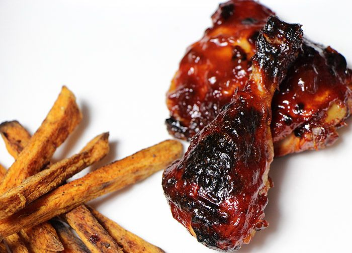 This chicken with bourbon barbeque sauce recipe pairs very well with the sweet potato fries  smashed fried potatoes  and the sweet corn pudding