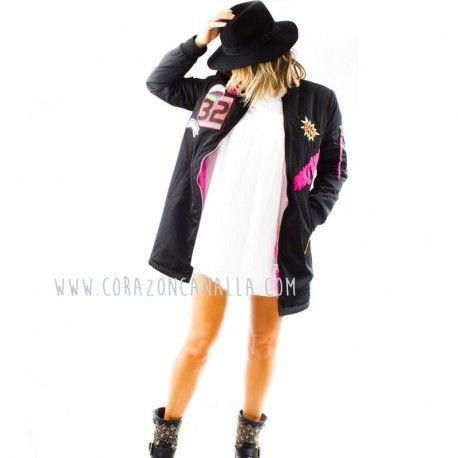 BOMBER mujer negra rosa LARGA BANG by corazon canalla