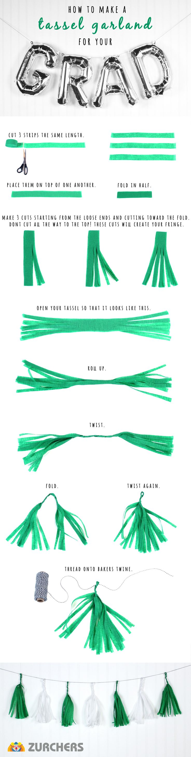 How to make a tassel garland out of crêpe paper streamers.