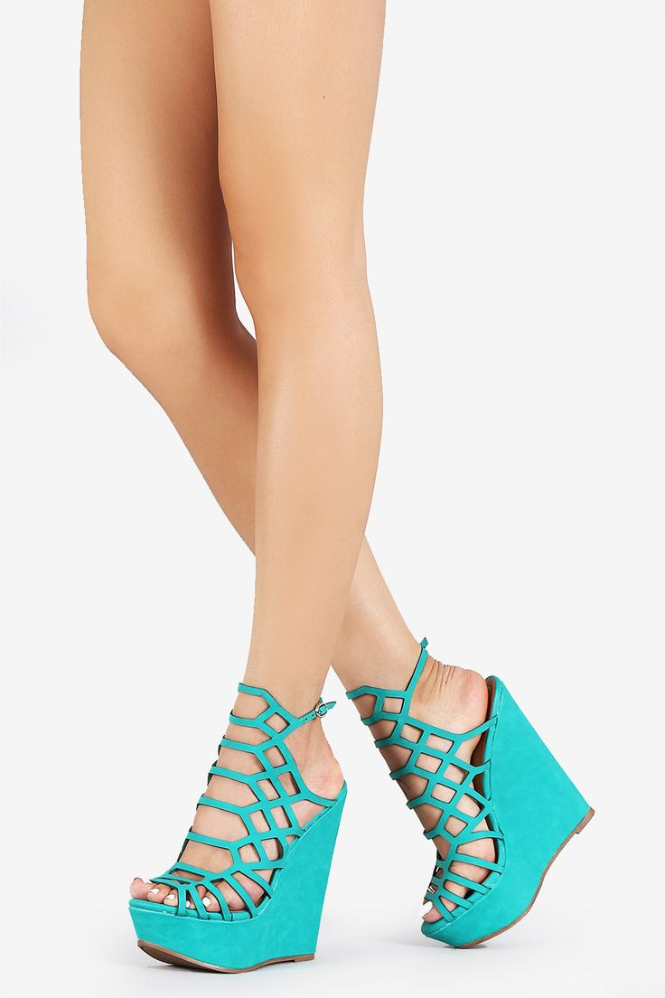 These peep toe toe wedges are on a leg-lengthening platform wedge, featuring a…