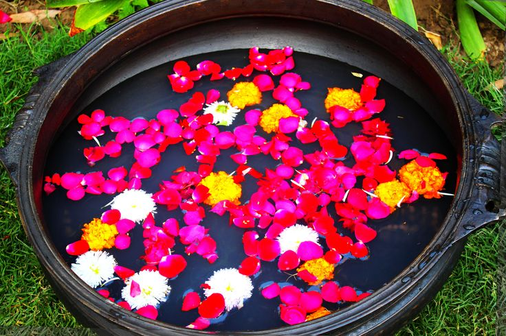 """A traditional """"Urli"""" bowl filled to capasity with floating flowers at https://www.indianshelf.com/category/urli-pots-planters/"""