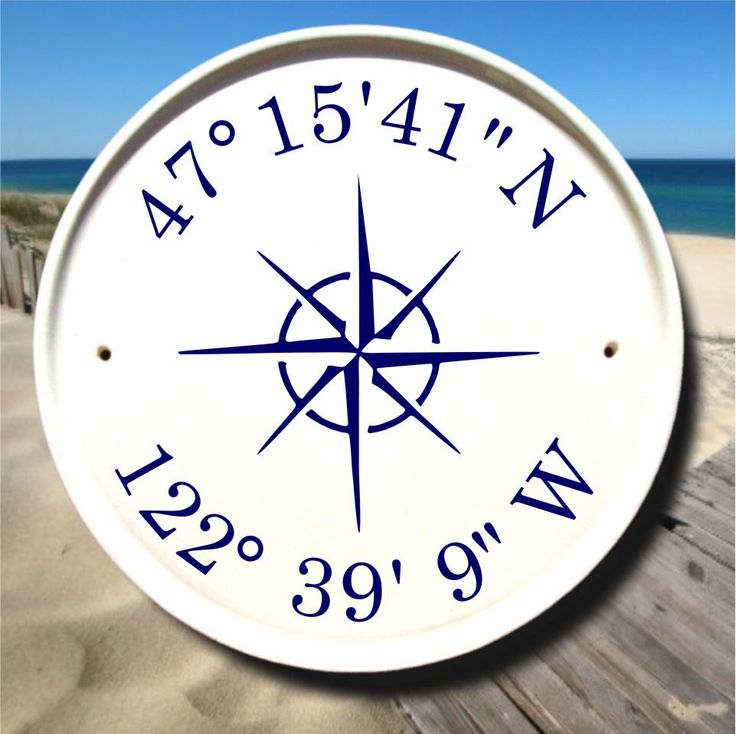Nautical Compass / Coordinates Sign / Latitude Longitude Gifts / Sailboat Decor / Nautical Signs / GPS Coordinates/ Beach House Gift/Ceramic by AddressPlaquesPlus on Etsy (null)