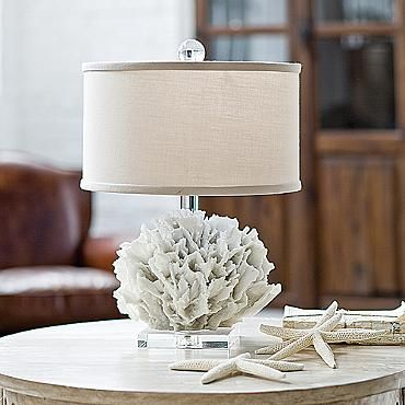 Ribbon Coral Table Lamp - frontgate.com: Perhaps a bit redundant when one lives at the beach, but small enough not to scream, well...Beach -very cute