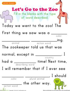 MadLibs-style fill-in-the word Zoo themed sheet