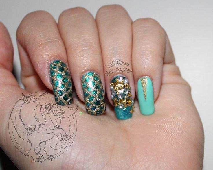 Fabulous Von Raptor - Little Mermaid Got Bling   Mermaid Nail Art   GLitter   Charm