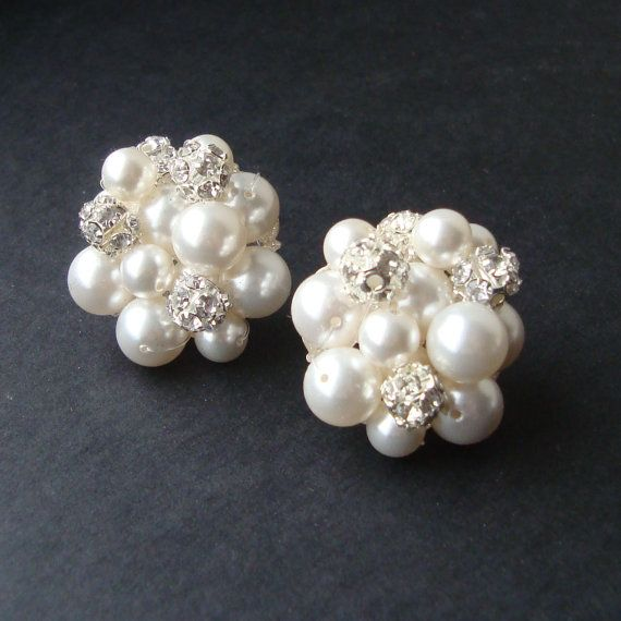 8fb2027bceb64c Vintage Retro Style Pearl Cluster Bridal Earrings, Pearl Stud Earrings,  Cluster Pearl Wedding Earrings, Wedding Jewelry, AUDREY in 2019 | wedding  dress ...