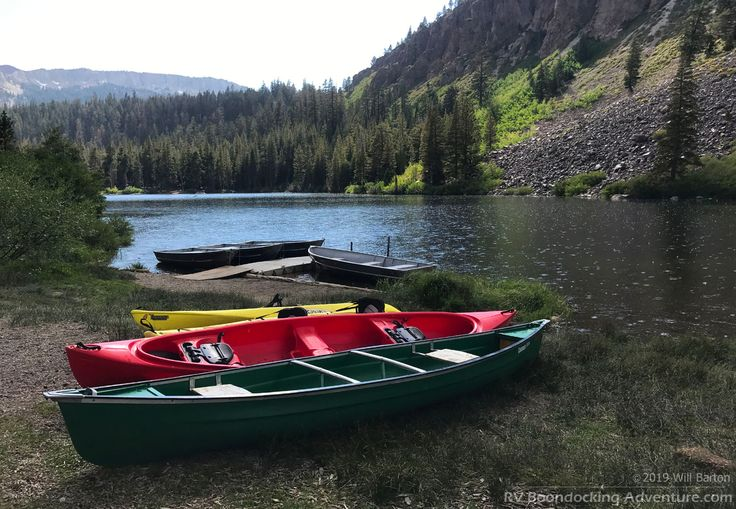 Boats on the shore of twin lakes near mammoth lakes
