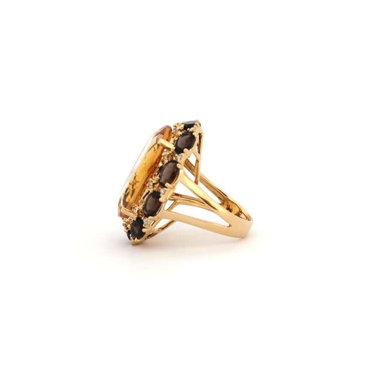 EAU DE VIE RING | Side view of the Eau De Vie Ring, made from 18 karat Yellow Gold, Smokey Quartz, Citrine and Diamonds. Available at Kate McCoy