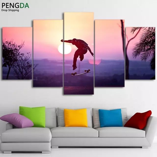 Skateboard Sport 5 Pieces canvas Wall Art Print Picture Home Decor