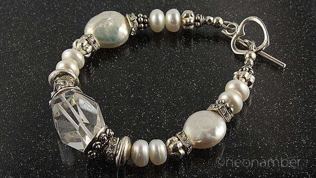 Beautiful handcrafted jewellery for brides or her entourage. This could be your daily accessory as well. Featuring pearls, chunky clear quartz and Sterling Silver $135