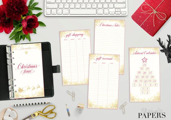 Printable Personal GOLD CHRISTMAS inserts for your personal planner