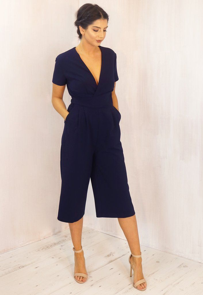 4986c8c665a GIRL IN MIND Megan Short Sleeve Deep V Origami Culotte Jumpsuit in Navy Blue