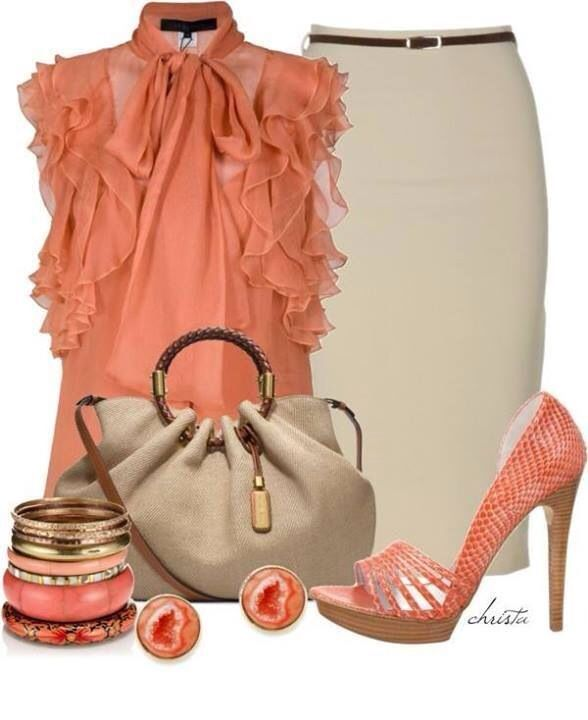 Peach and neutral work or Sunday brunch fashion