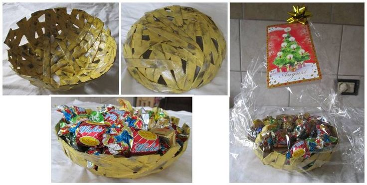 Cesto portacioccolatini realizzato con canne di carta piatte, color senape, con sfumature nere e oro. Materiale: carta di riciclo. Creato per un regalo