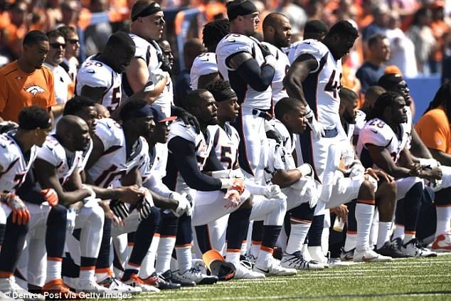 The Denver Broncos took a knee during the national anthem on Sunday ahead of their game ag...