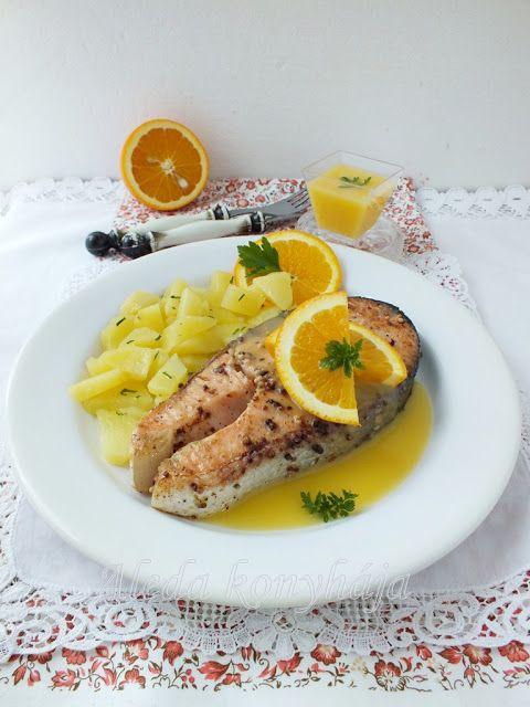 Aleda konyhája: Mustármagos lazac narancsmártással