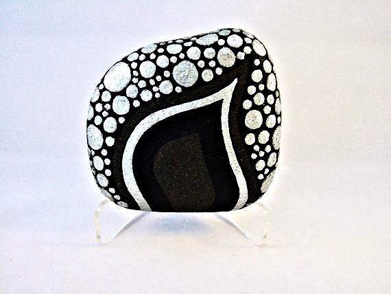 Unique 3D Art Object, OOAK, Painted Rock, Black Silver Glitter Pebbles Design, Home Decor, Office Decor,