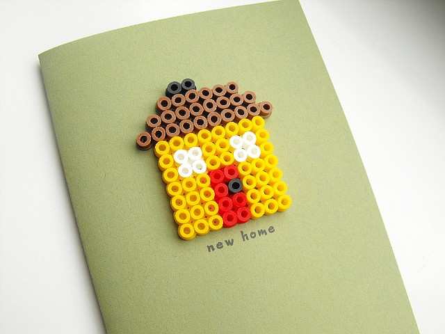 New home. I love the idea of using perler beads on a card
