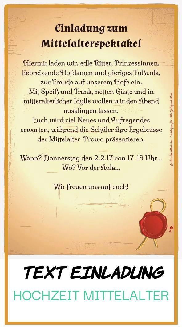 Good 11 Text Einladung Hochzeit Mittelalter Di 2020