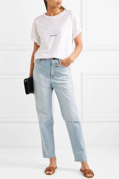 786fe0e0b47 Saint Laurent - Woven leather slides   STYLE   90s jeans, Jeans ...
