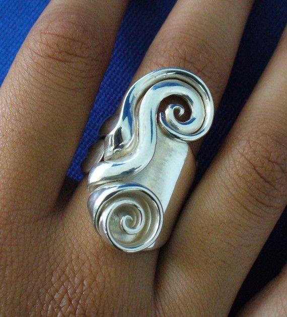 Massiv Sterling Silber-Real Gabel-Ring-Größe 5 von Forkwhisperer