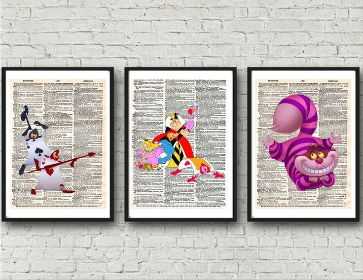 Alice in Wonderland, Alice in Wonderland Prints, Dictionary Wall Art, Queen of Hearts, Cheshire Cat, Wall Prints, Wonderland Art by KleezPrints on Etsy