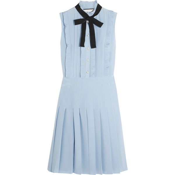 Gucci Ruffled pleated silk crepe de chine mini dress (51.620 UYU) ❤ liked on Polyvore featuring dresses, gucci, vestidos, blue, silk neckties, blue necktie, silk dress, blue dress and mini dress