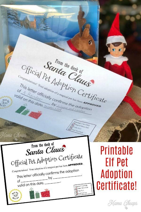 Elf On The Shelf Pet Adoption Certificate Printable Mama Cheaps Pet Adoption Certificate Adoption Certificate Elf Pets