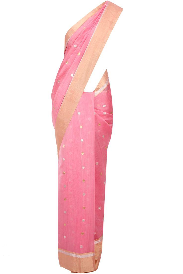Light pink lotus motifs handloom sari available only at Pernia's Pop-Up Shop.