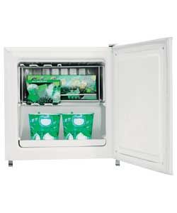 £99.99 Argos Value Range DD1-05 Tabletop Freezer - White. Take me home today from over 300 stores! This Tabletop Freezer is available for immediate   capacity 1.36 cu ft. Net frozen food storage volume 34-litres. Star rating: 4. Climate class N. Noise level 41dB. Ambient temperature 16 to 32°C. Reversible door. Manual temperature control. Temperature display. General information: Size H51, W44, D49cm.