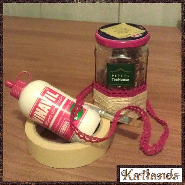 Riciclo - recicle: barattolo di vetro decorato come porta the - jar for thè