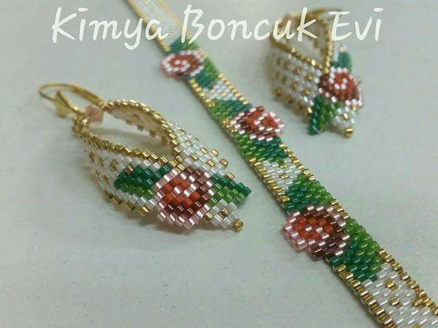 Rose flower earrings and bracelet or choker