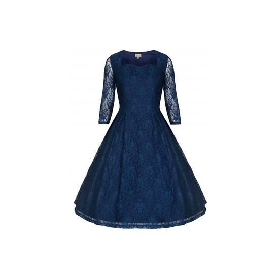 Retro šaty Lindy Bop Lisette Blue Šaty ve stylu 50. let. Krásné společenské šaty vhodné pro slavnostní příležitost - na ples, do divadla, na párty. Modrá barva noční oblohy, dvě vrstvy - spodní strečová bavlna, vrchní krajka s průhlednými rukávy, vzadu v pase menší mašle, zip v boční straně. Krásně sedí, doporučujeme se spodničkou, která šatům dodá dokonalý objem a kterou najdete také v nabídce.