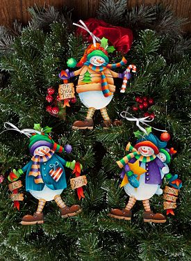 Snow Boys Ornaments by Kay Quist - Decorative Painting Patterns from ArtistsClub.com