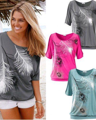31265e29cbc02 3D feathers cold shoulder t shirt for women cut out shoulder top ...