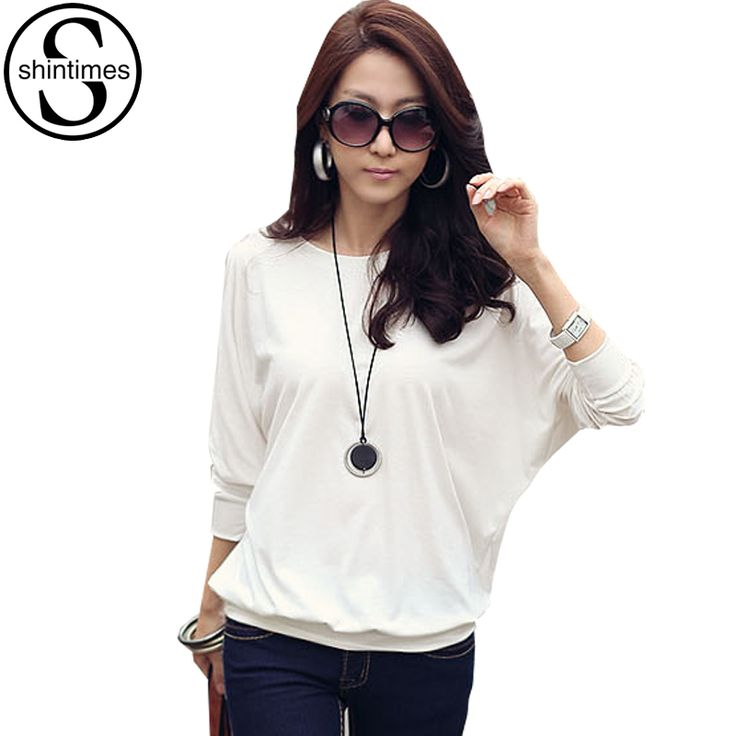 Camisas Femininas 2016 Batwing T Shirt Women Tshirt Fashion Womens Long Sleeve Tops White Loose T-shirt Plus Size Woman Clothes //Price: $17.08 & FREE Shipping //     #hairextension #style #beauty #woman #love