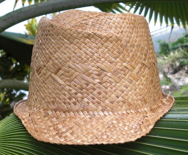 small lauhala cap front