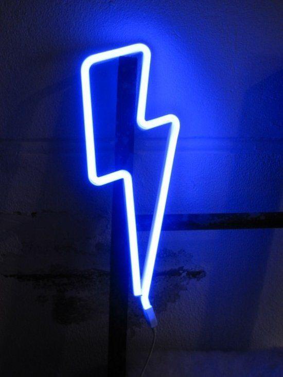 LED Neon stijl lamp: Bliksem - blauw