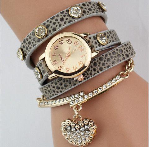 Heart pendant bracelet style quartz wristwatch for women