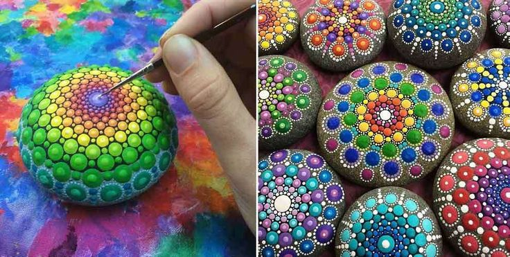 Featured Image for Australian artist paints ocean rocks with colourful dots to turn them into mandalas