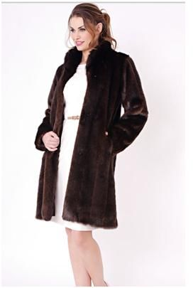 """Brown Mink Signature Knee-Length Faux Fur Coat.Chic and sophisticated, our 37""""-long Sable faux fur stroller-style coat proves beauty is in the details. To a sleek, contemporary knee-length cut, we added a steel-boned standup collar, hidden velvet-lined pockets, European fur hooks and a satin-faced hem. For more pics go to: www.imageshack.com"""