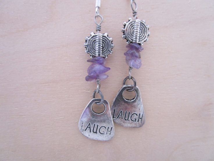 Laugh till ur Purple Earrings by NovemberSunset on Etsy