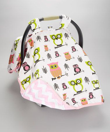 Pink & Green October Owls Car Seat Canopy