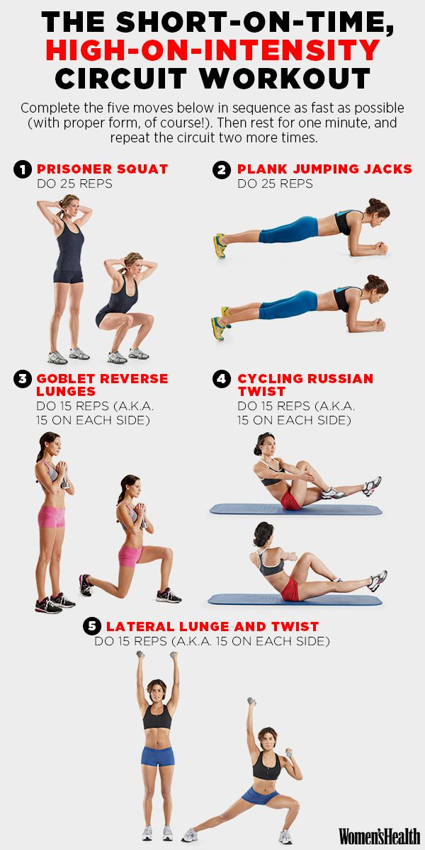 Short on time? We got your workout covered. Learn how to perform each move.