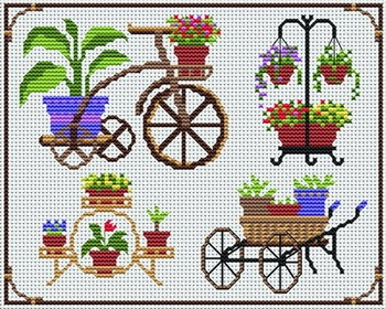 home and garden decoration cross-stitch chart