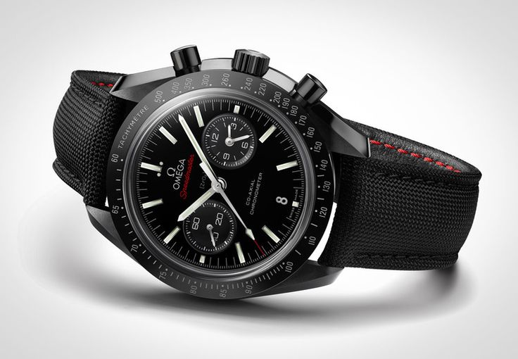 """Omega Speedmaster Professional, """"Dark Side of the Moon"""" Edition.  All-Black ceramic watch (case, crown, buckle, pushers) with black cordura strap and red stitching. 18K white gold hands.  An absolutely awesome watch, one I got to see recently at the Omega store.  $12000.00"""