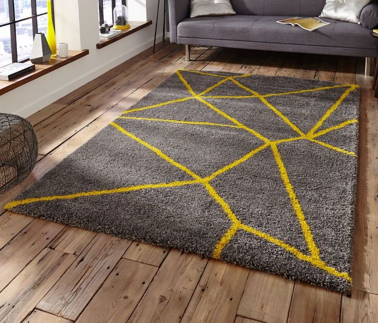 Grey Yellow contemporary shaggy rug 120 x 170 cm ~ 4ft x 5ft7