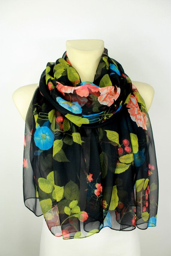 Sciarpa di seta floreale - sciarpa di Chiffon - donne moda sciarpa - unico…