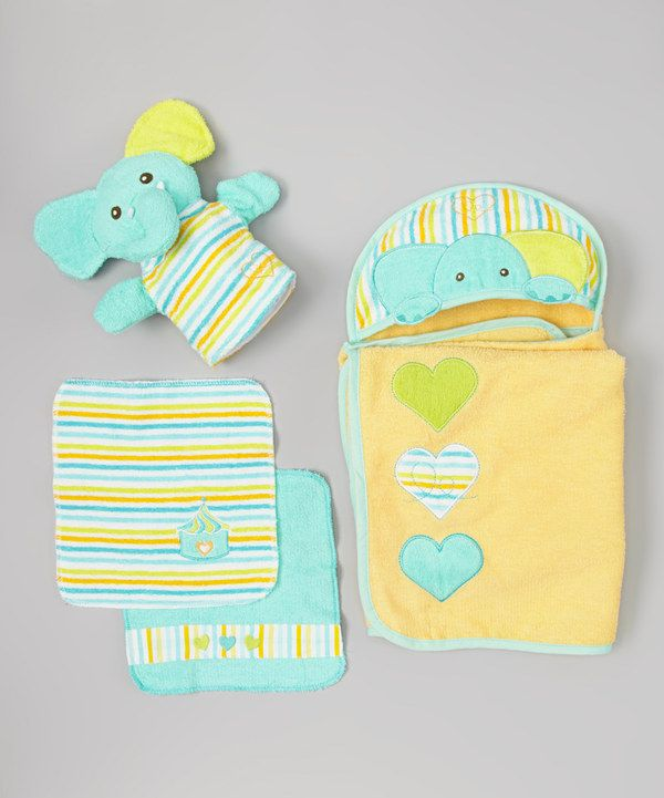 Take a look at this Piccolo Bambino Turquoise Elephant Hooded Towel Set on zulily today!
